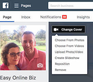 Facebook Cover - Upload Photo or Video