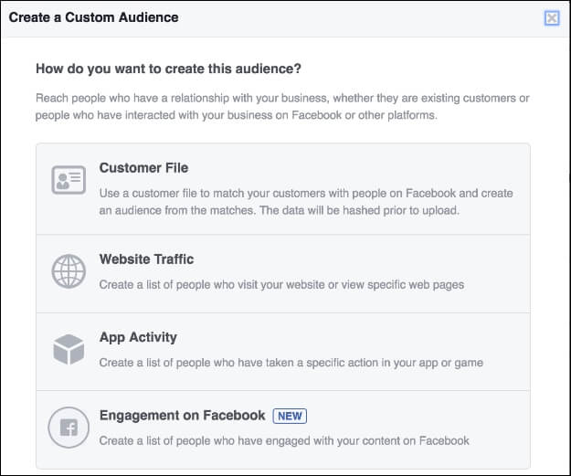Create a Custom Audience - Engagement on Facebook